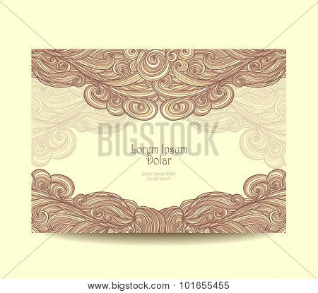 Template  label with abstract wave  in beige