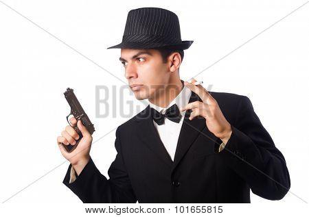 Young elegant man holding handgun isolated on white