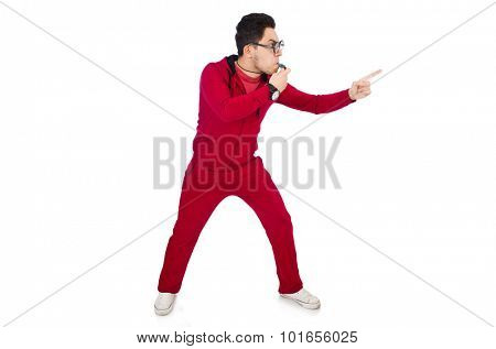 Funny sportsman with whistle isolated on white