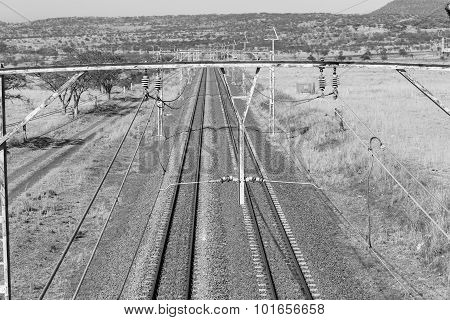 Railway Tracks  Dry Landscape