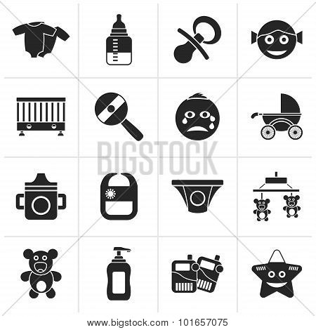 Black Baby, children and toys icons