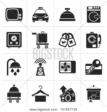 Black Hotel and motel room facilities icons