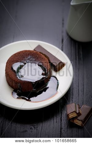 Chocolate Lava Cake / Lava Cake / Chocolate Lava Cake On Black Background