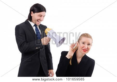 Businessman and businesswoman with megaphone isolated on white