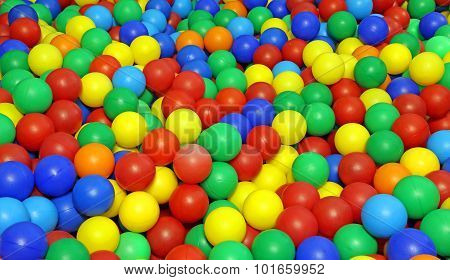 Many Colored Plastic Balls In A Pool For Children