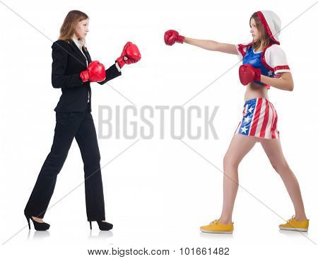 Business lady and sportsman boxing isolated on white