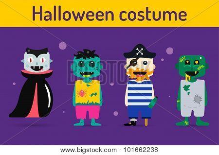 Set of vector halloween costume characters