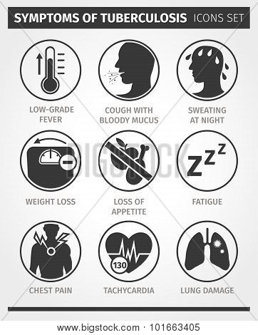 Icons set Symptoms of tuberculosis. TB. Vector infographic.