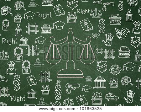 Law concept: Scales on School Board background