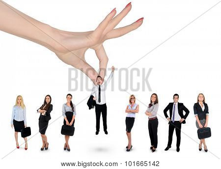Woman hand choosing business man