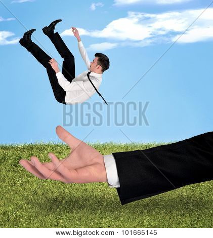 Young business man fall outdoor
