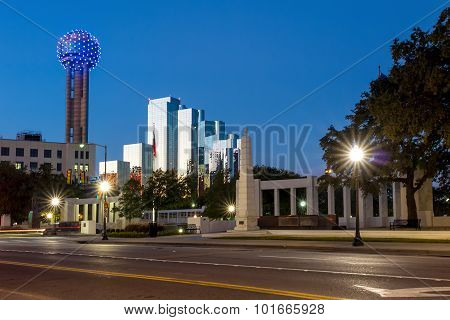 The Dealy Plaza And Its Surrounding Buildings In  Dallas