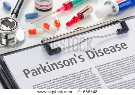 The Diagnosis Parkinsons Disease Written On A Clipboard