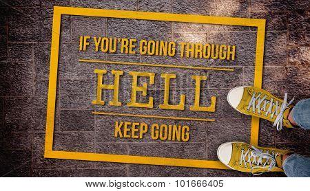Composite image of motivational message against metal background