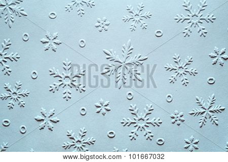Embossed Snowflake Pattern on Paper,Christmas Decoration.