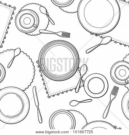 Tableware seamless pattern.