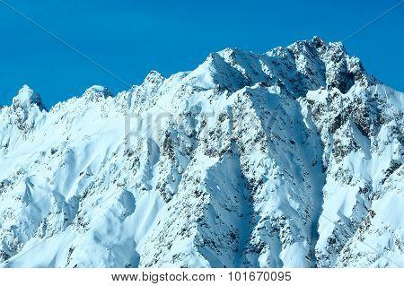 Winter Steep Rocky Slope, Austria.