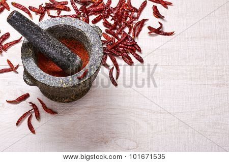 Pestle With Mortar, Surrounded By Dried Chili Peppers