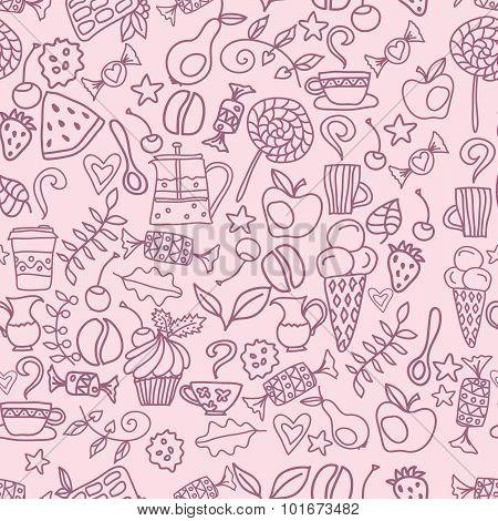 Tea and coffee seamless pattern