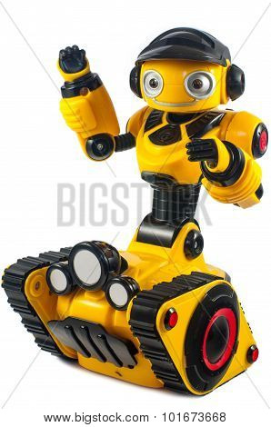 Children's Toys - Yellow Robot On Caterpillar Wheels