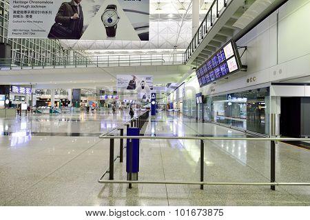 HONG KONG - SEPTEMBER 09, 2015: Hong Kong International Airport interior. Hong Kong International Airport is the main airport in Hong Kong. It is located on the island of Chek Lap Kok