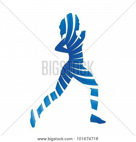 Abstract Blue Running Woman