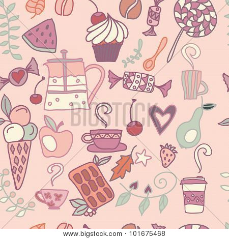 Tea and coffee pattern in pink