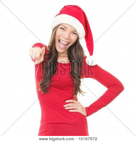 Happy Christmas Woman Pointing