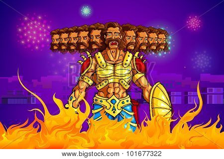 Ravana burning in fire on Dussehra