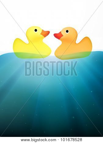 vector ducks swimming on water