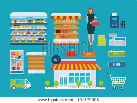 Supermarket store concept with food assortment, opening hours and payment options, delivery icons il