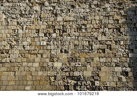 Antique Wall Made Of Stones In Greece