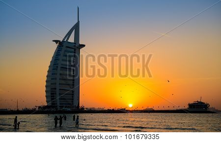 Burj Al Arab In Sunset