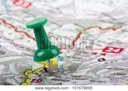 Thumbtack In A Map. Travel Destinations