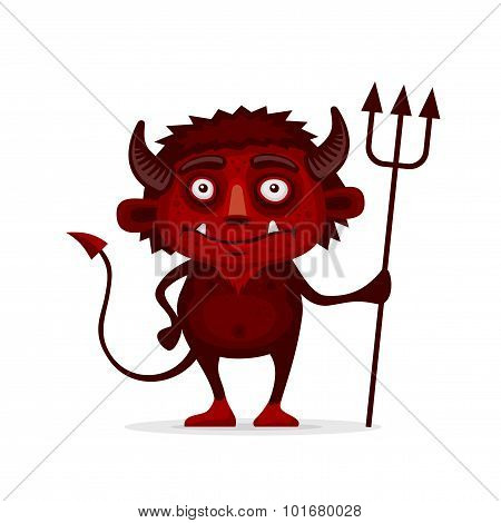 Red Halloween Devil with Trident in Cartoon Style. Vector