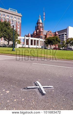 X On The Road Where President John F. Kennedy Was Assassinated