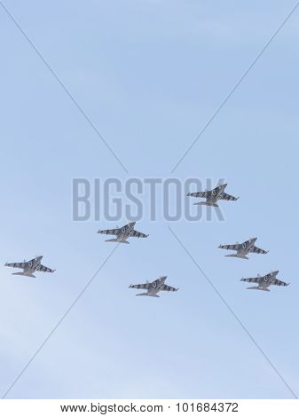 Six Yak-130 In The Victory Day Parade