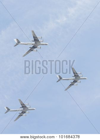 Three Tu-95 At The Victory Parade