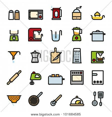 Kitchen and Cooking Colored Icons Collection. Cooking Utensils and Kitchen Appliances flat colored line icons vector set