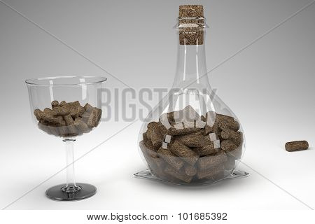 Volume Bottle With A Cup Filled With Wooden Cork