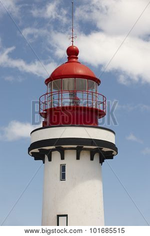 Red And White Lighthouse In Topo, Sao Jorge, Azores. Portugal