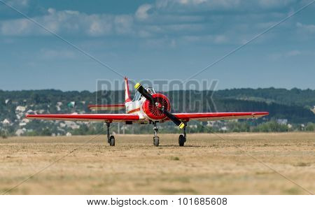 UKRAINE, KHARKIV -AUGUST 24: Aircraft at the airport at an air show in honor of Independence Day of Ukraine in Kharkiv on August 24, 2015