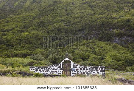 Azores Landscape With Rural Cemetery In Sao Jorge Island. Portugal