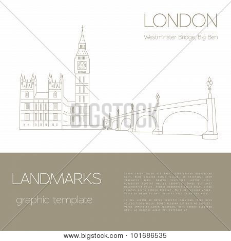 World landmarks. London. United Kingdom.Westminster Abbey, the Bridge, Big Ben. Graphic template