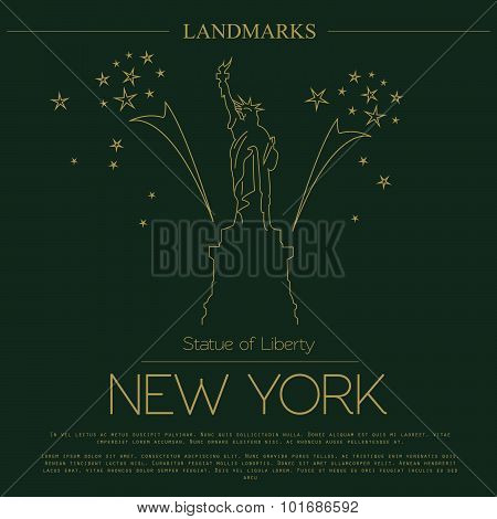 World landmarks. New York. USA. Statue of Liberty. Graphic template. Logos and badges
