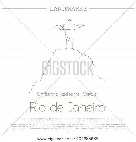 World landmarks. Rio de Janeiro. Brazil. Christ the Redeemer Statue. Graphic template