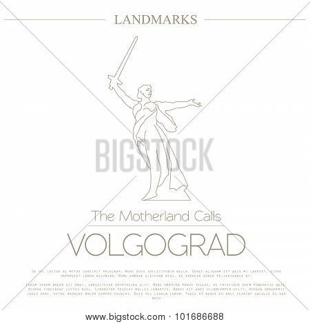 World landmarks. Volgograd. Russia. The Motherland Calls Statue on the Mamaev Kurgan