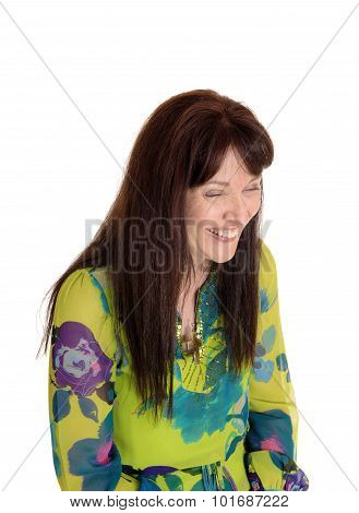 Middle Age Woman Laughing.