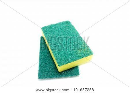 Sponges For Dishwashing On White Background, Scotch Brite Dishwashers