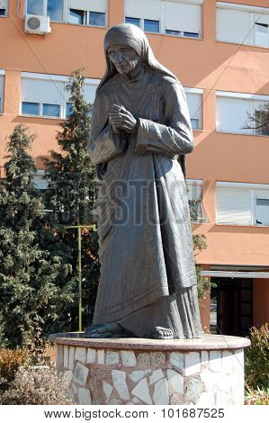 Struga, Macedonia -march 04 : Mother Teresa Monument In Struga On March 04 , 2008. Monument Humanita